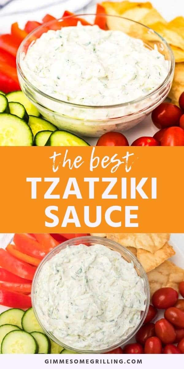 Make your own Tzatziki Sauce at home! This famous yogurt and cucumber sauce that you are served at Greek restaurants is made with yogurt, cucumber, fresh herbs (like mint and dill), garlic, lemon and salt! Serve it as a chilled sauce, dip or spread. We love pairing it with Greek Chicken Skewers or fresh vegetables. #tzatzikisauce #recipe via @gimmesomegrilling