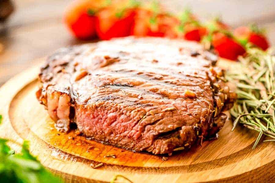 Steak cut on board