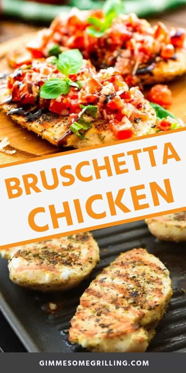Bruschetta Chicken is a delicious, healthy dinner recipe! Seasoned and grilled chicken topped with homemade bruschetta and balsamic glaze! It's an easy dinner perfect for a busy weeknight. via @gimmesomegrilling