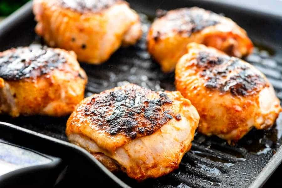 Chicken Thighs in grill pan
