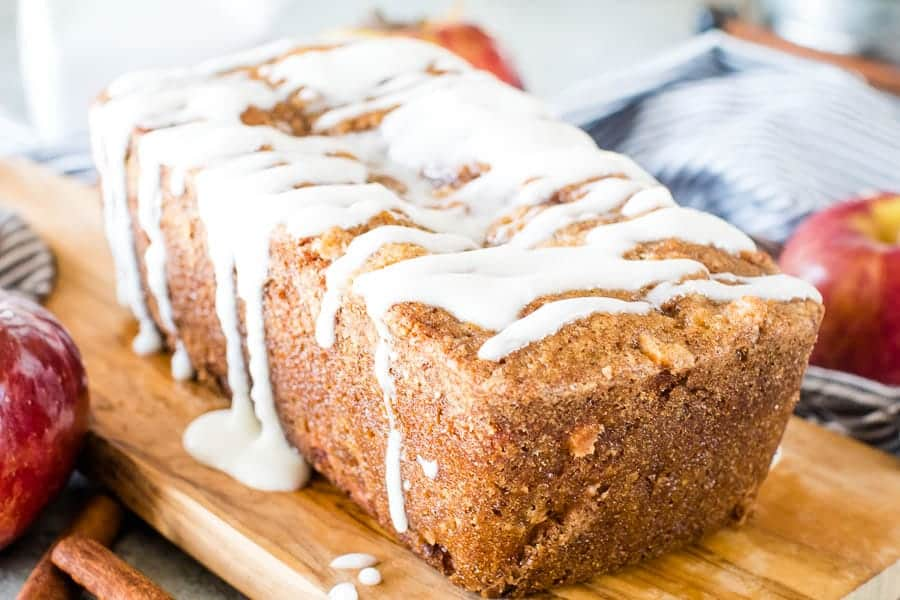 Loaf of iced apple bread