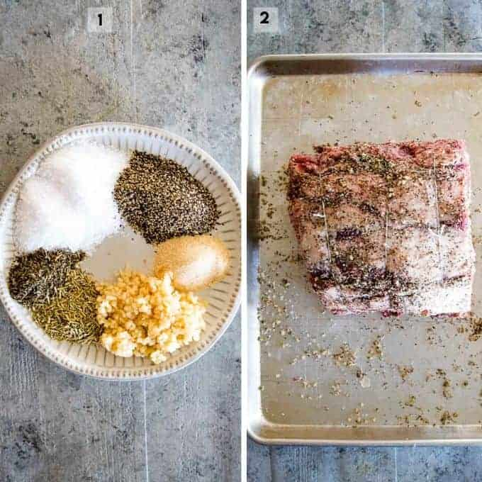 Uncooked prime rib on pan and plate of unmixed seasoning