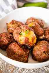 White bowl full of Jalapeno Popper Smoked Meatballs