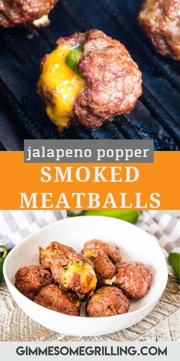 Jalapeno Popper Smoked Meatballs are juicy meatballs stuffed with a piece of cream cheese, cheddar cheese, jalapeno slice and smoked. So much flavor! #smoked #meatballs via @gimmesomegrilling