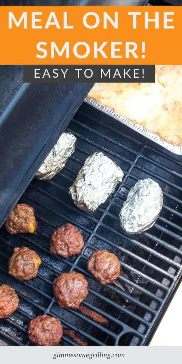 Want to prepare an entire meal on the Smoker tonight? We have one for you! Delicious Smoked Jalapeno Popper Meatballs, Hasselback Potatoes and Peach Dump cake all smoked to perfection. We have it laid out with a timeline and tips and tricks to make it the best dinner ever. #smoker #recipes via @gimmesomegrilling