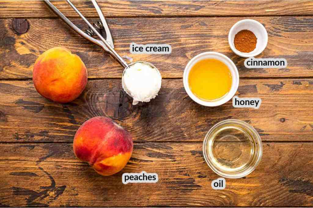 Grilled Peaches Ingredients on wooden background in bowls
