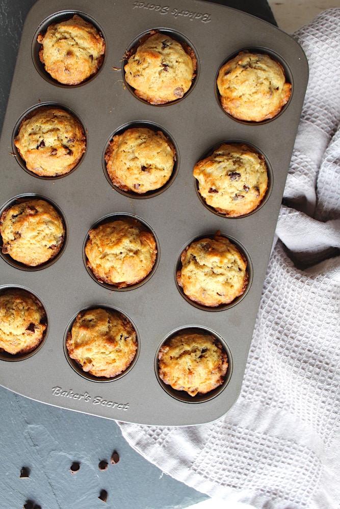 Mini chocolate chip banana muffins recipe
