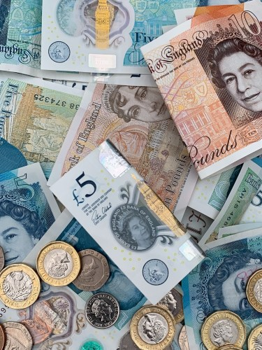 UK pounds sterling notes and coins