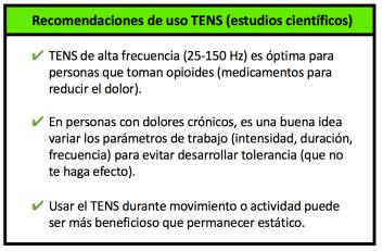tabla uso TENS