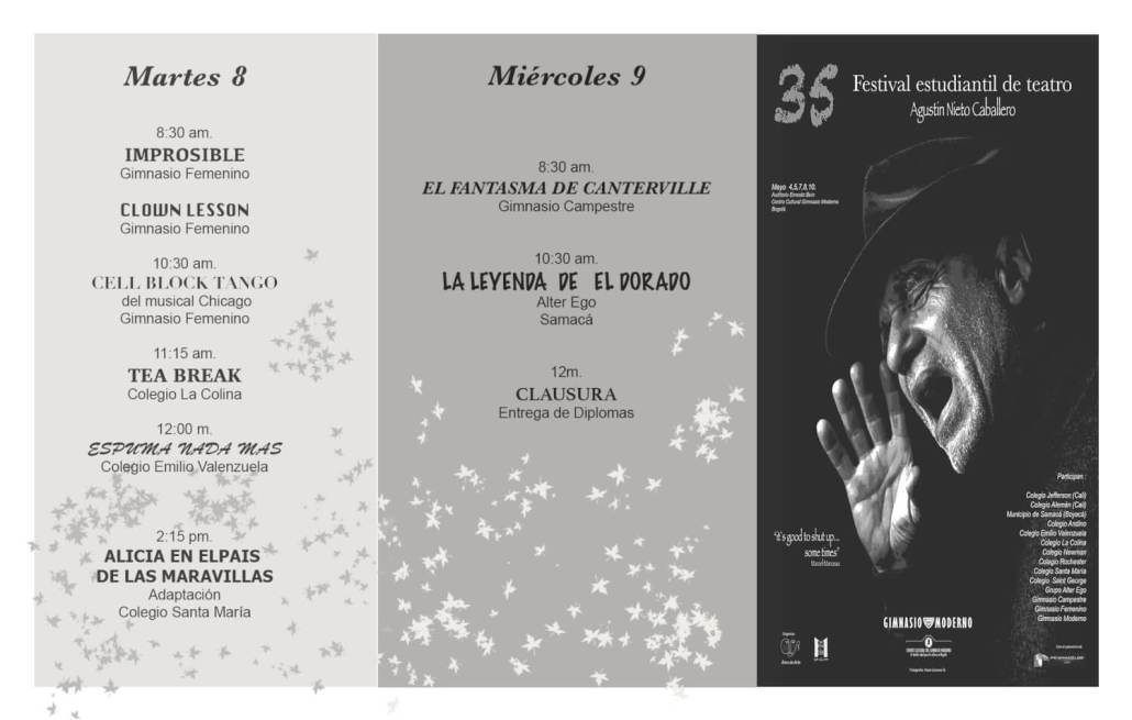Programación 35 Festival de Teatro Agustín Nieto Caballero.