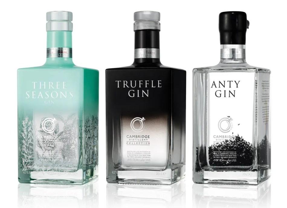 Cambridge Distillery's Three Seasons Gin, Truffle Gin and Anty Gin
