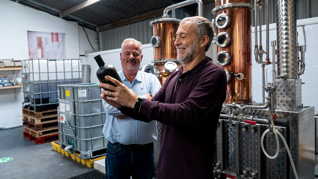 Michel Roux Jr at Nelson's Distillery with his new Le Gavroche Gin