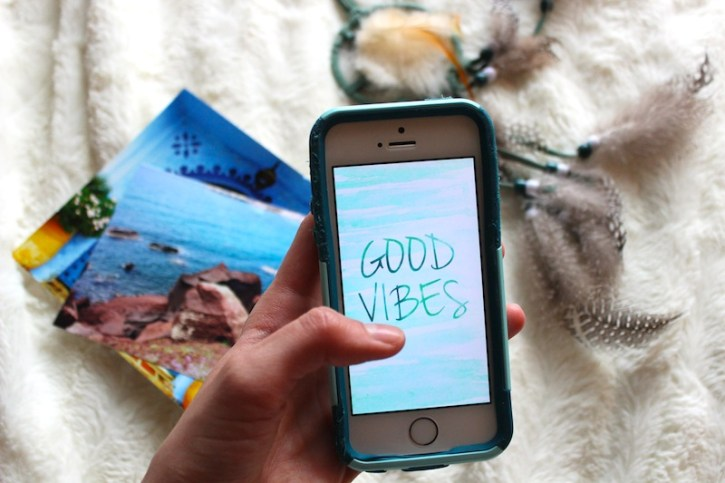 Good Vibes iPhone Background Watercolor