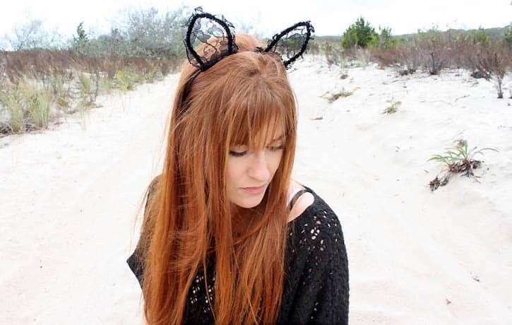 DIY Lace Halloween Cat Ears