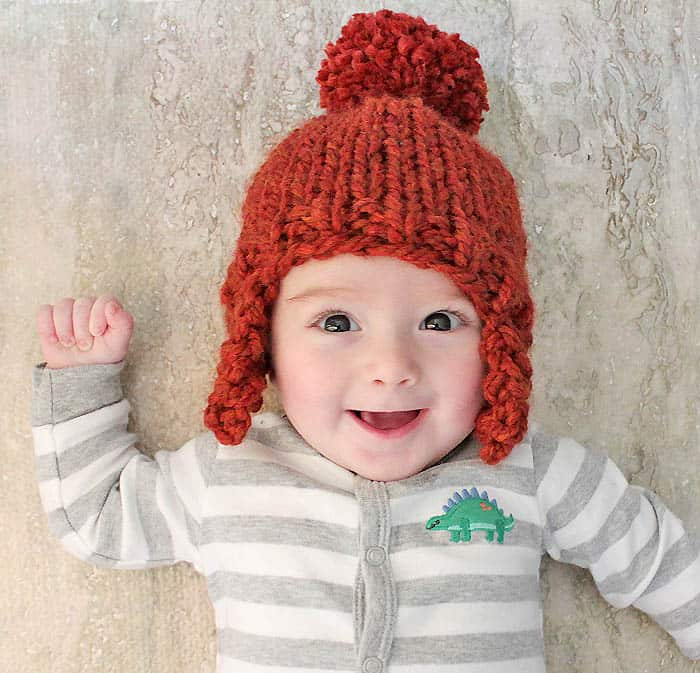 Free Beginner Baby Ear Flap Hat Knitting Pattern by Gina Michele