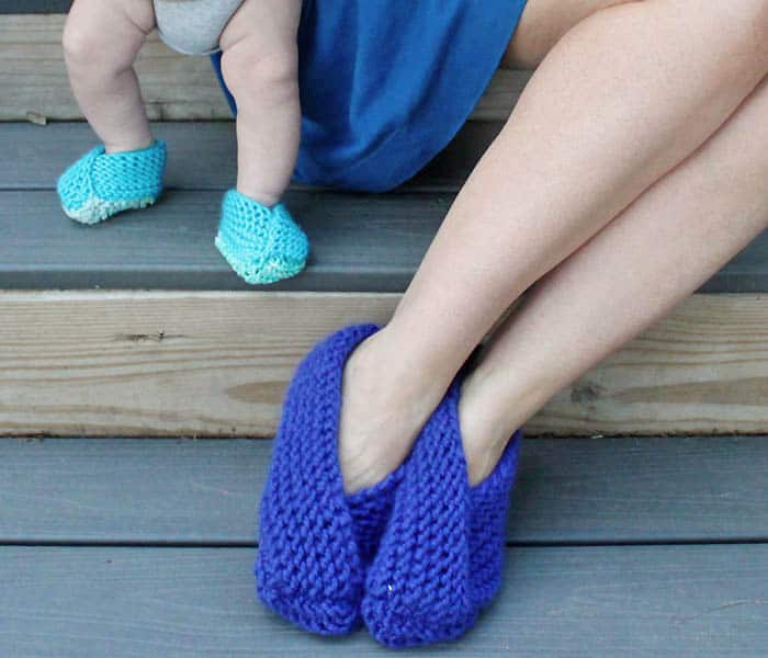 Baby and Womens Foldover Slippers Knitting Pattern by Gina Michele