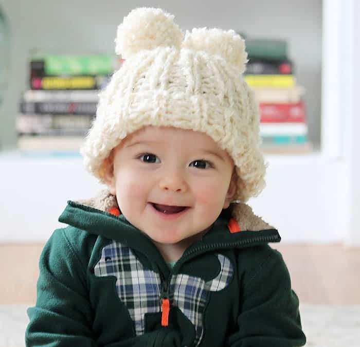 Lion Brand Homespun Baby Snow Angel Hat Knitting Pattern