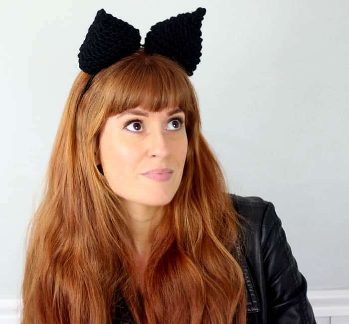 Halloween Cat Ear Headband [knitting pattern]