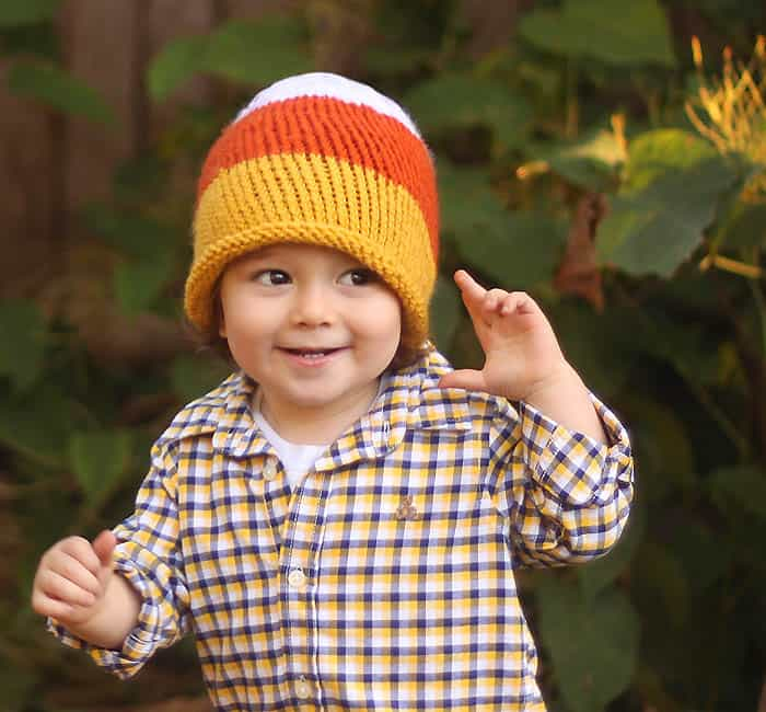 Toddler Candy Corn Hat knitting pattern