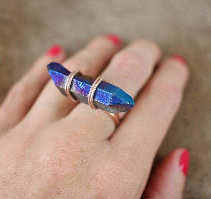 DIY Wrapped Crystal Ring