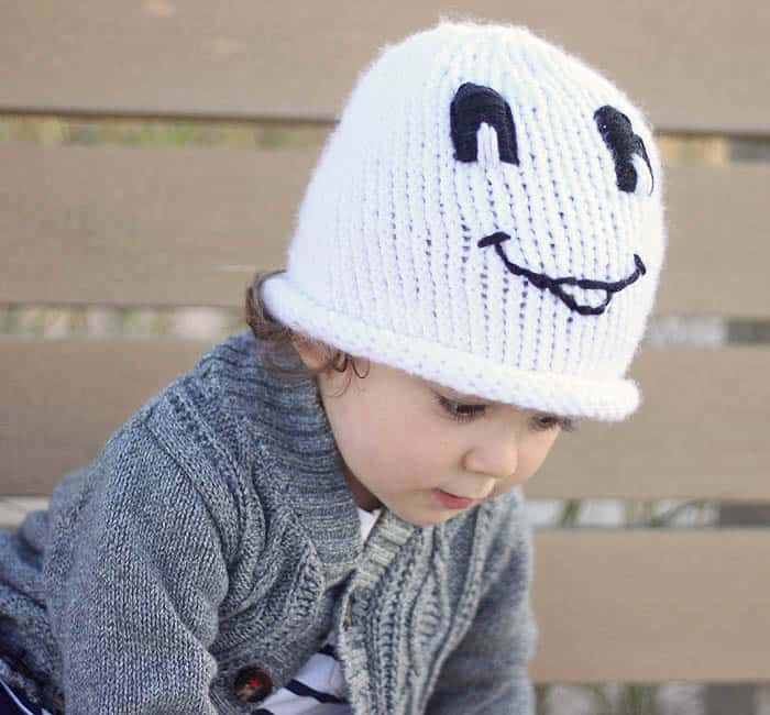 Friendly Ghost Toddler Hat Knitting Pattern