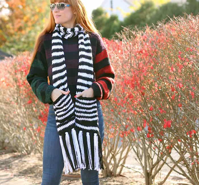 Kate Spade Chunky Stripe Pocket Scarf Free Knitting Pattern