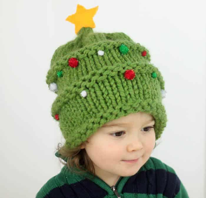 Baby Christmas Tree Hat Free Knitting Pattern