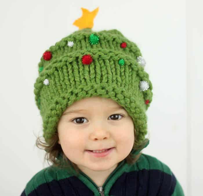 Baby Christmas Tree Hat Knitting Pattern