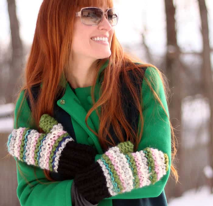 Scrap Busting Mittens Free Knitting Pattern by blogger Gina Michele