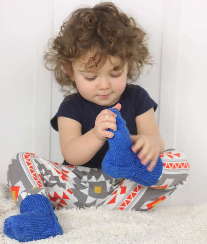 Ribbed Toddler Socks Free Knitting Pattern by Gina Michele