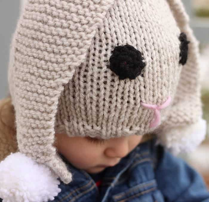 Bunny Baby Hat Knitting Pattern - Gina Michele