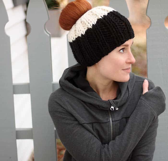 Messy Bun Hat Free Knitting Pattern