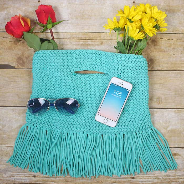 Fringe Clutch Free Knitting Pattern - Gina Michele