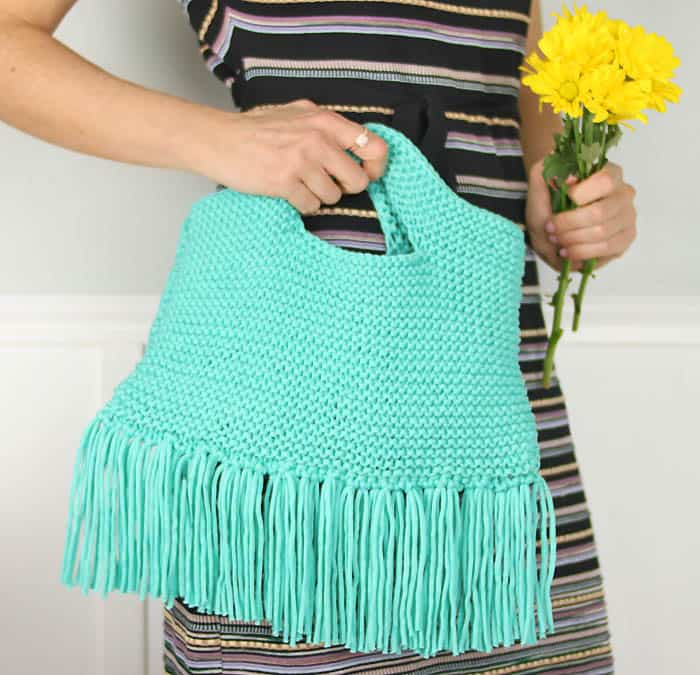 Fringe Clutch Free Knitting Pattern