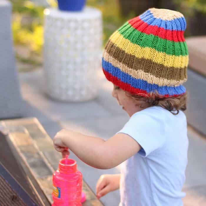Toddler Stripe Slouch Beanie Free Knitting Pattern