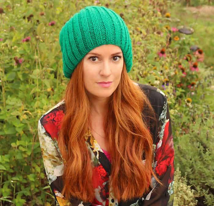Women's Slouch Beanie Hat Free Knitting Patten by Gina Michele