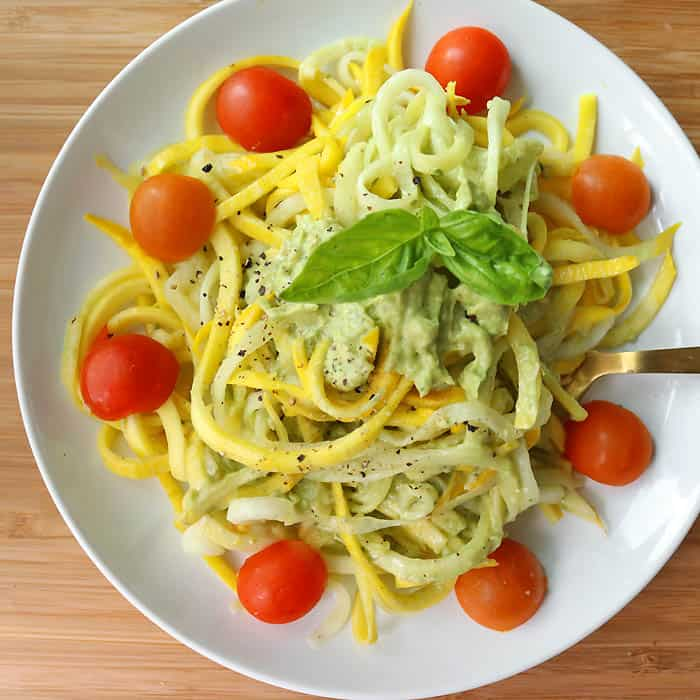 Yellow Summer Squash Noodles with Creamy Vegan Avocado Pesto