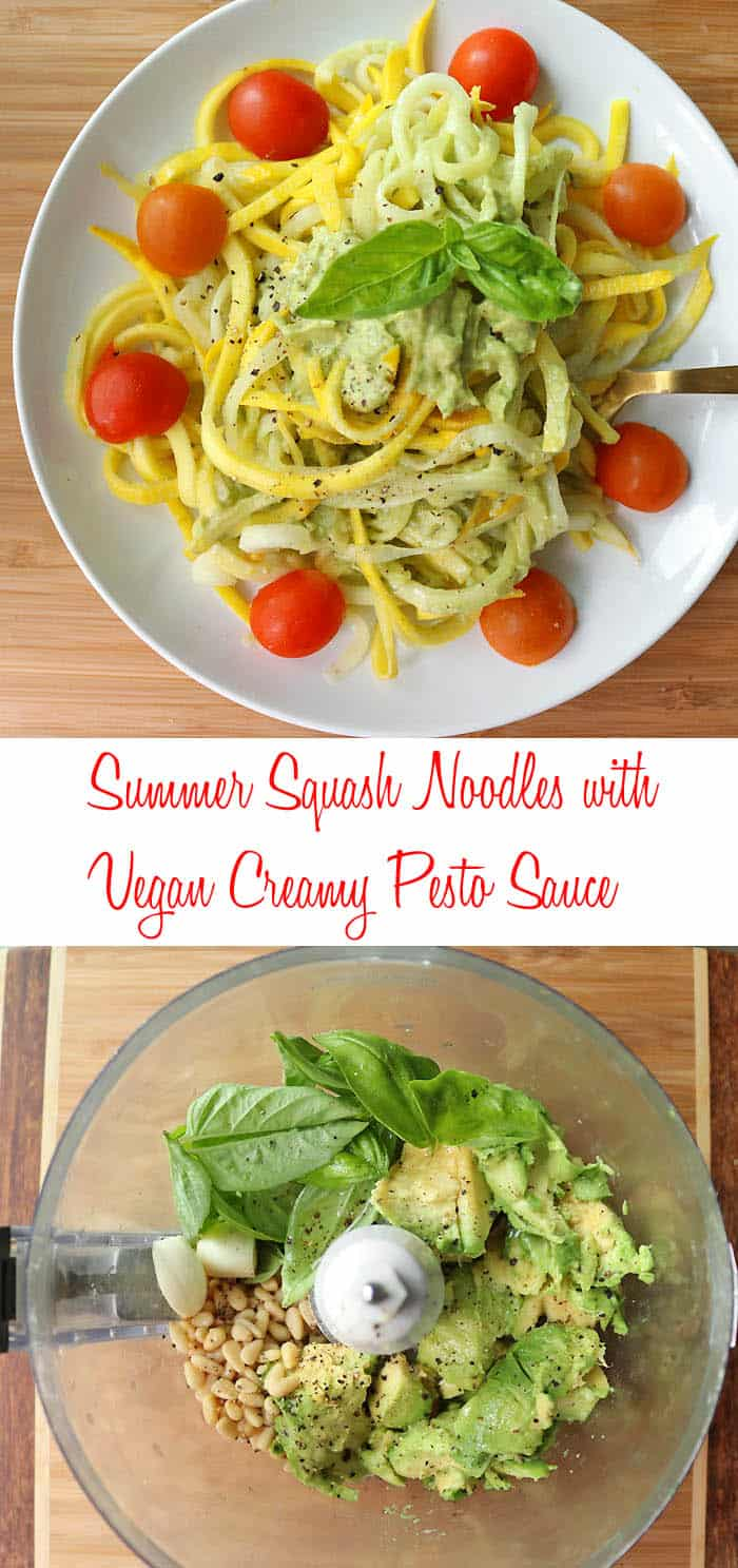 Yellow Summer Squash Noodles with Creamy Vegan Avocado Pesto