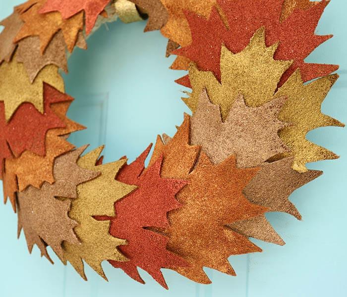 Pottery Barn Inspired Metallic Leaf Wreath DIY