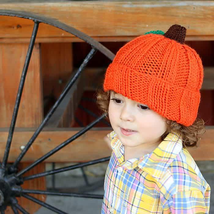 Toddler & Kids Pumpkin Hat Free Knitting Pattern