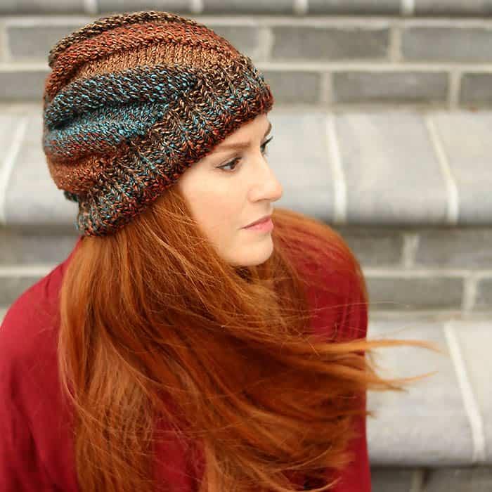 Flat knit hat beginner knitting pattern by Gina Michele