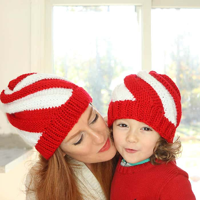 Easy Candy Cane Swirl Hat Knitting Pattern Women And Kids Sizes
