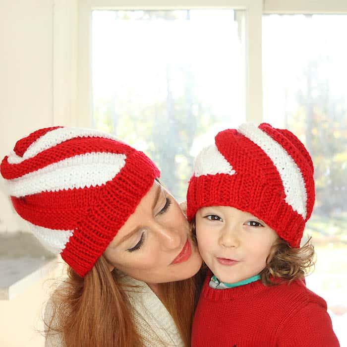 Easy Candy Cane Swirl Hats Free Knitting Pattern Women And Kids