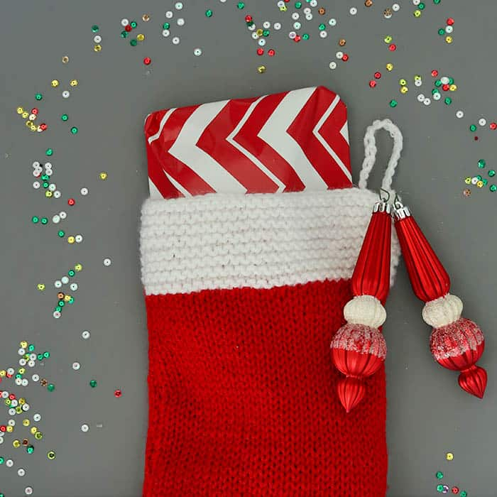 Flat Knit Christmas Stocking Knitting Pattern - Gina Michele