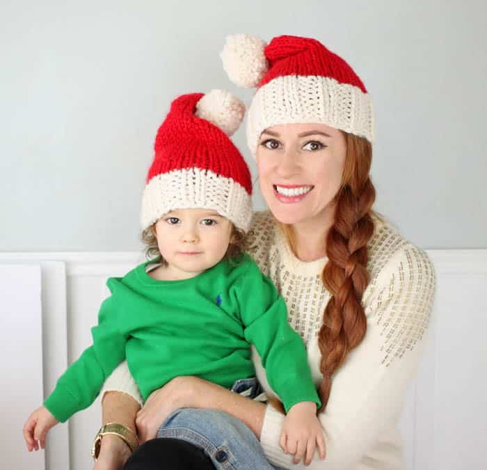 Family Santa Hats Free Knitting Pattern