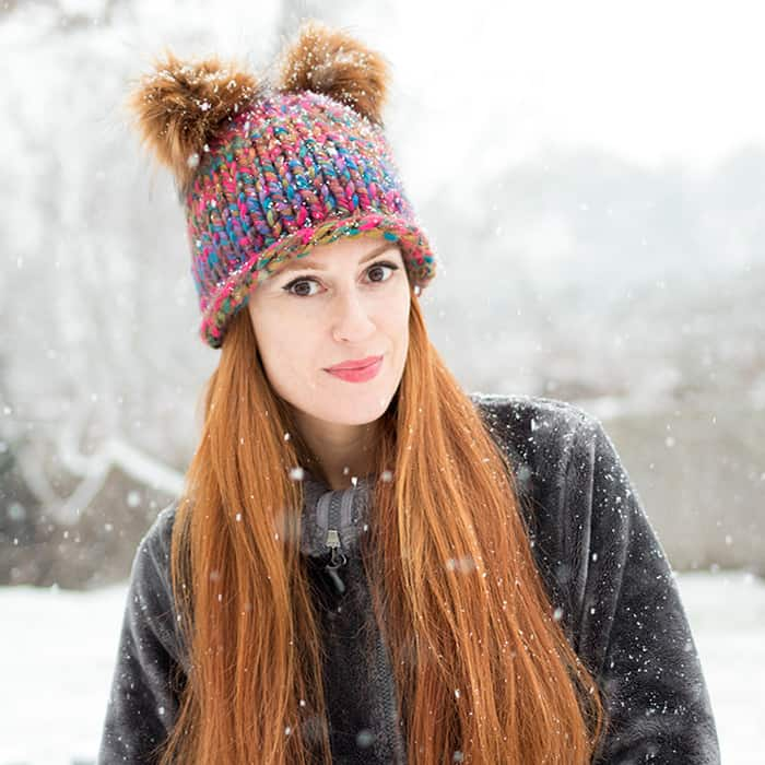 Double Pom Beanie Free Knitting Pattern