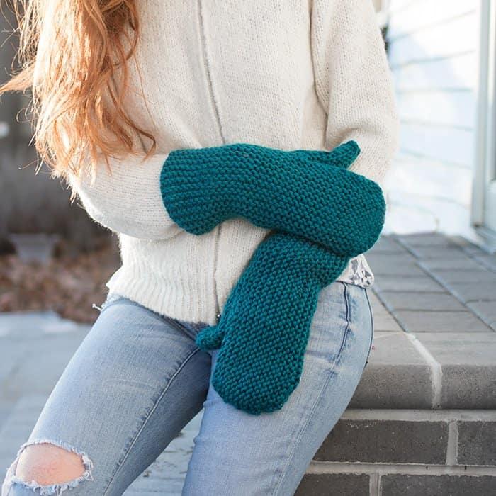 Flat Knit Mittens Free Knitting Pattern