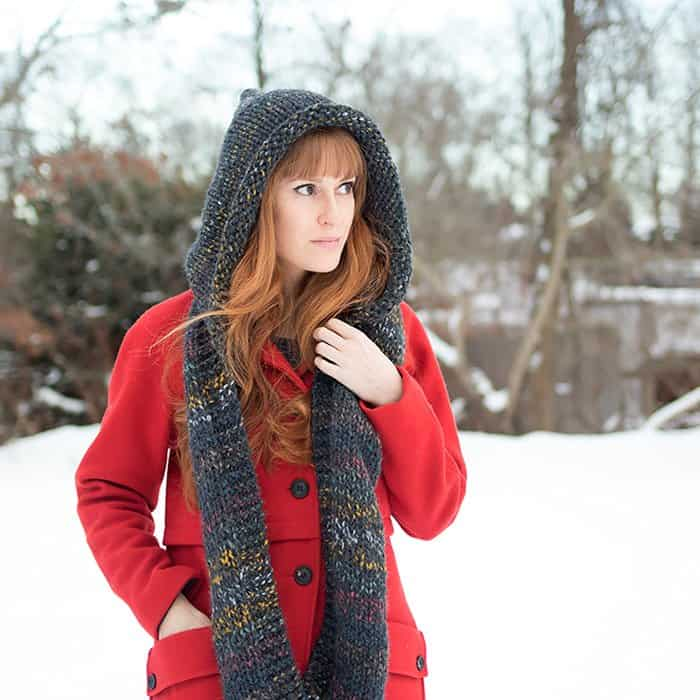 Easy Hooded Scarf Knitting Pattern Gina Michele