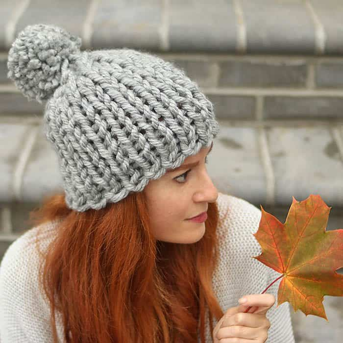 Chunky Flat Knit Hat Knitting Pattern