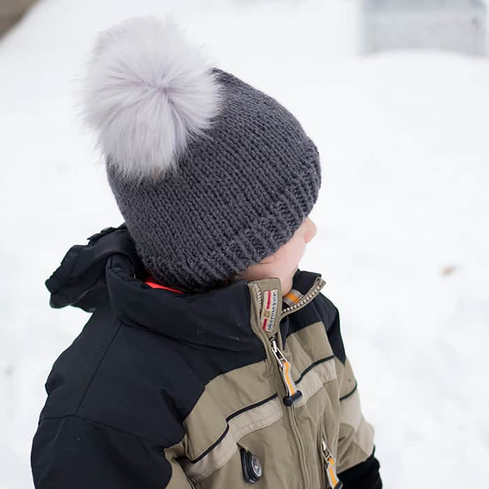 Kids Double Pom Beanie Free Knitting Pattern
